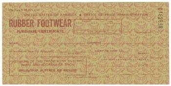 Rubber footwear purchase certificate (1944)