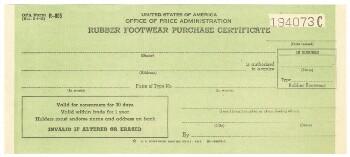 Rubber footwear purchase certificate (1943)